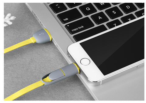 Tangle resistant 2 in 1 Lightning & Micro-USB Charge and Sync flat Cable combo case