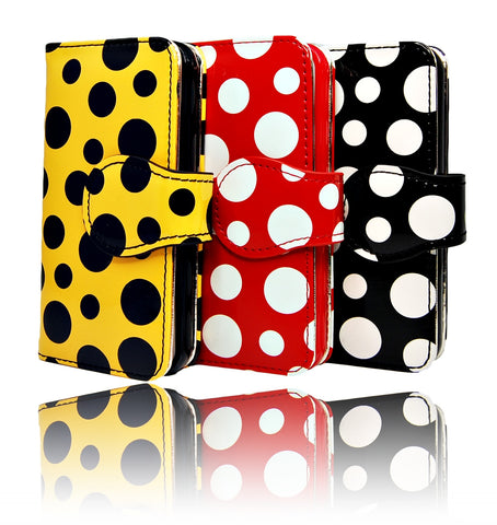 iPhone 5 5S SE Red White Polka Dots leather Pouch Wallet Case