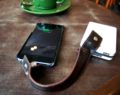 Genuine leather bracelet lightning cable
