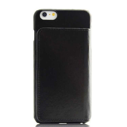 iPhone 6 6S Plus Black Classic Genuine Leather wallet case