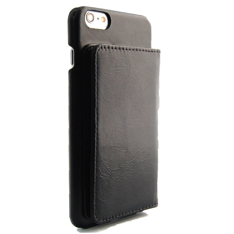 iPhone 6 Plus Black Classic Genuine Leather wallet case combo case