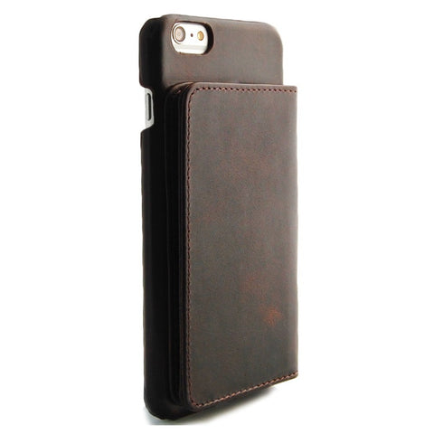 iPhone 6 Plus Brown Classic Genuine Leather wallet case combo case