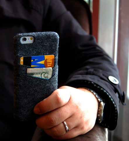 Felt slim wallet case for iPhone 6 combo case