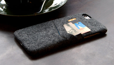 Felt slim wallet case for iPhone 6 Plus combo case