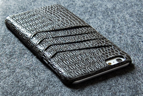 Top grain leather Slim wallet case for iPhone 6 Plus black color combo case