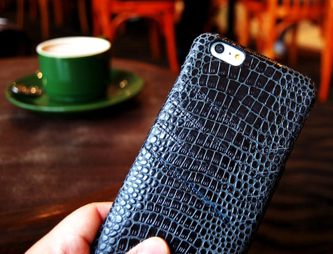 Top grain leather Slim wallet case for iPhone 6 black color combo case