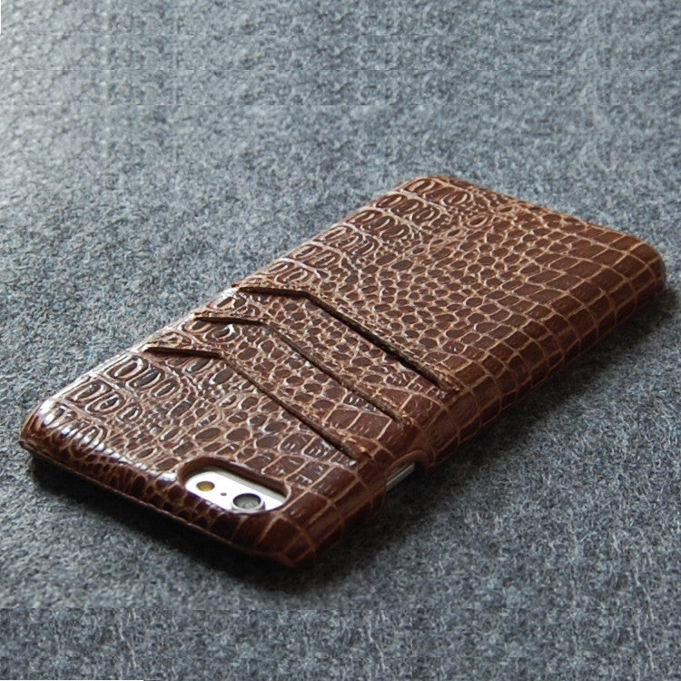 iPhone 6 6S genuine leather Slim wallet case brown color