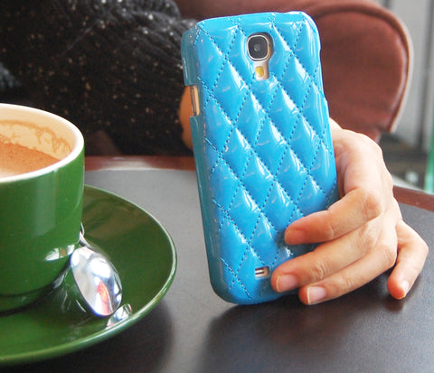 Samsung galaxy S4  Fashion Diamond Pattern Blue PU leather case