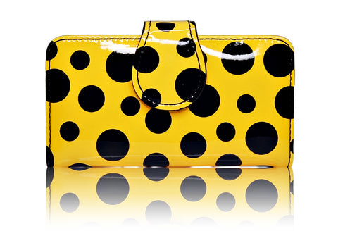 iPhone 5 5S SE Yellow Black Polka Dots leather Pouch Wallet Case