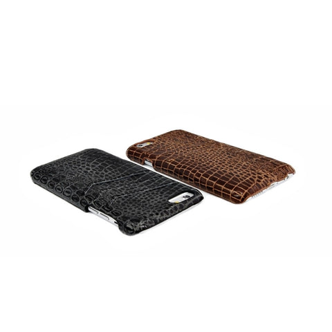 Top grain leather Slim wallet case for iPhone 6 brown color combo case