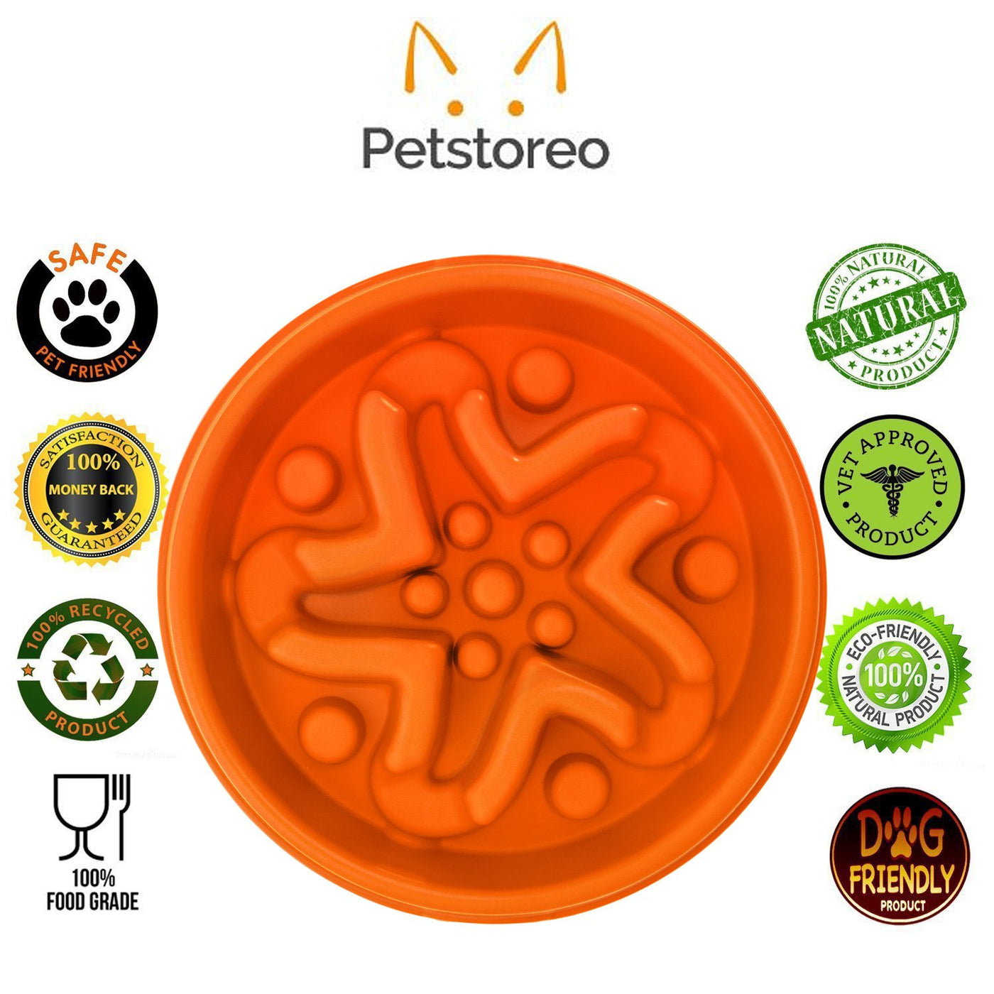 Simply Pets Online Slow Feeder Dog Bowl -Slow Eating Eco-friendly Bamboo Fibre Interactive Puzzle Dish for Healthy Dogs