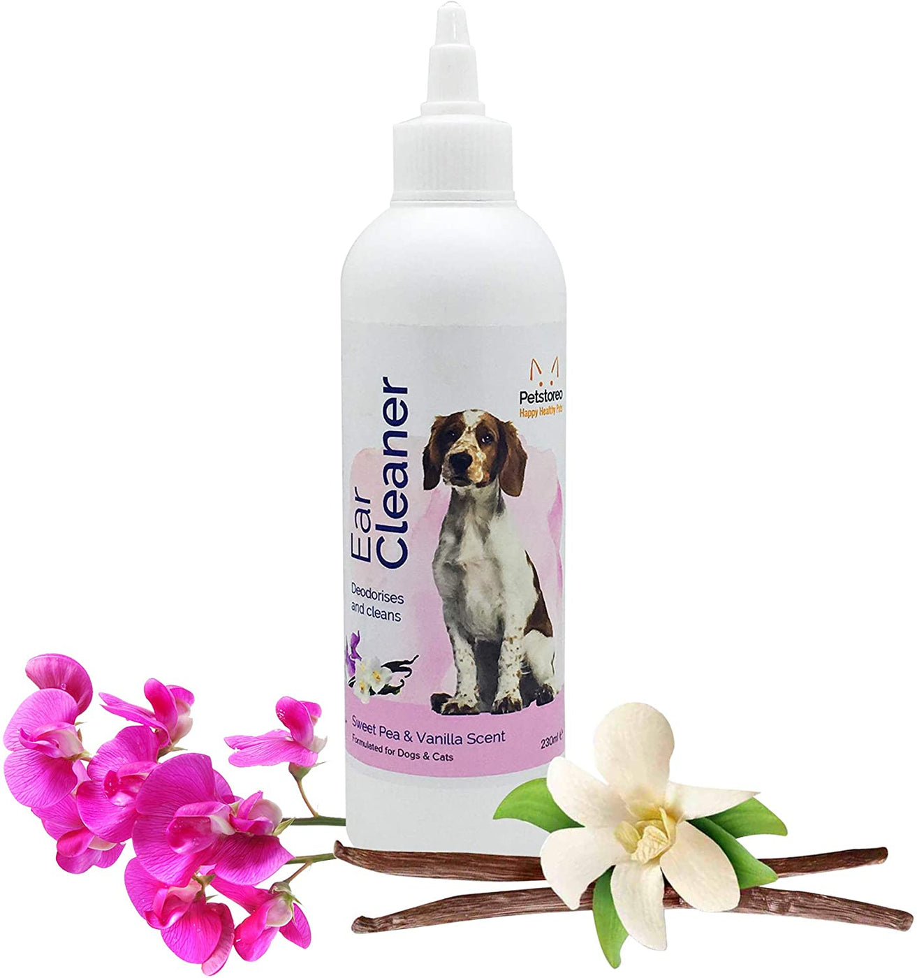 Ear Cleaner For Dogs Created By Vets With a Subtle Sweet Pea And Vanilla Scent