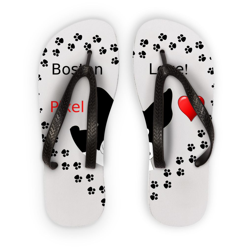 Love Boston Terriers Kids Flip Flops