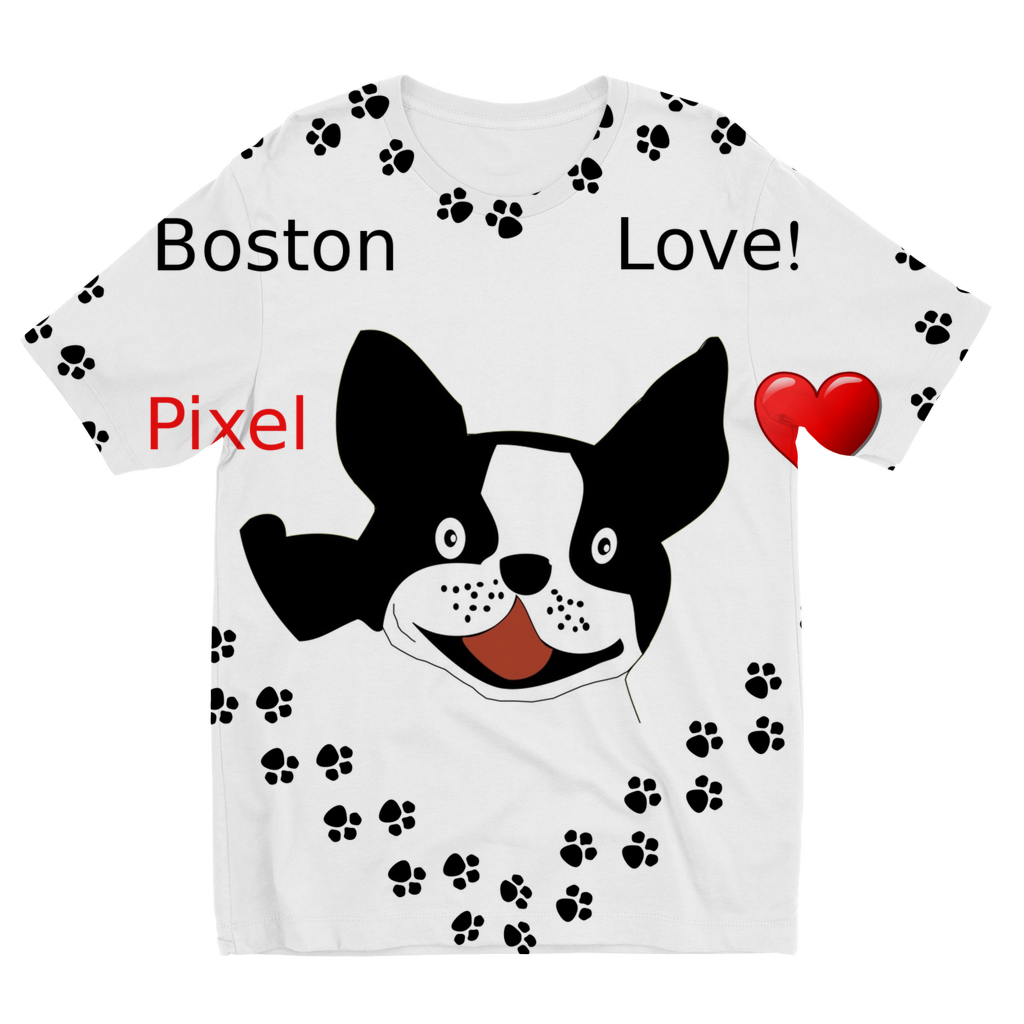 Love Boston Terriers Sublimation Kids T-Shirt