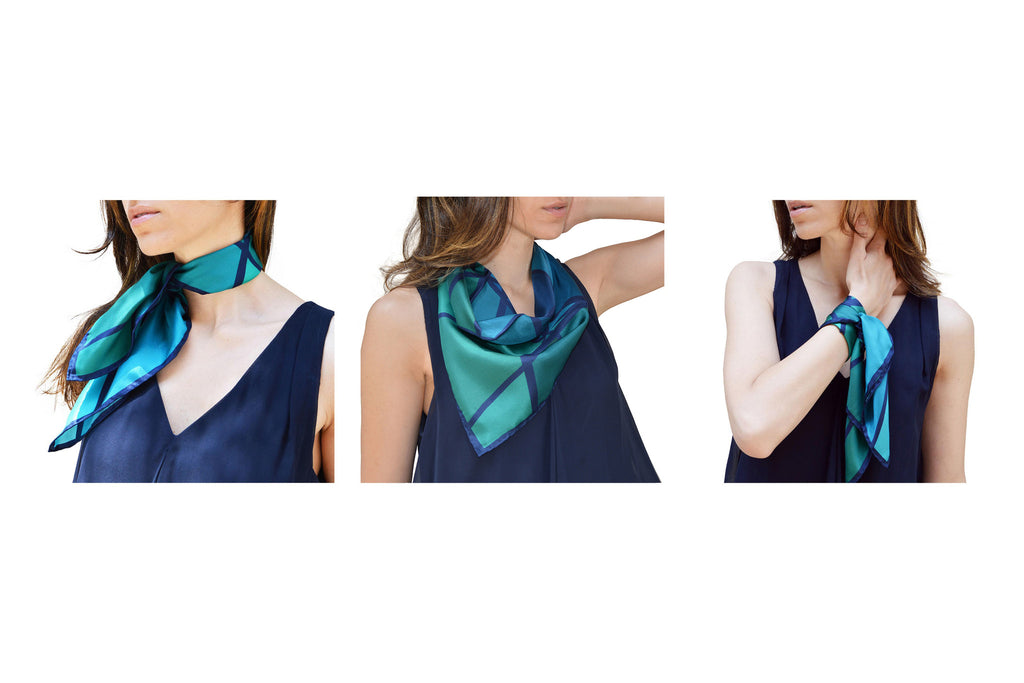ÉCLAT PRISMATIQUE IN TINTED TEAL BANDANA