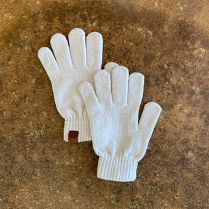 Cream Chenille Gloves