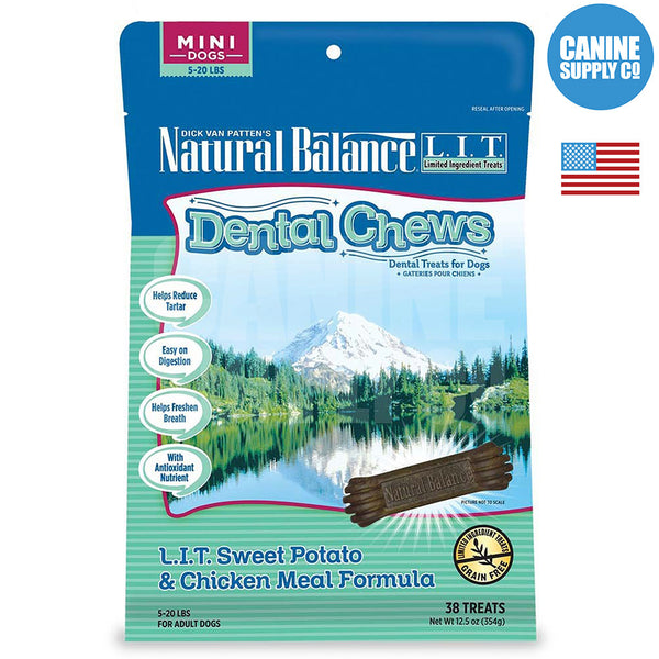 Natural Balance® Dental Chews L.I.T. Sweet Potato & Chicken Meal Formula, Mini | Canine Supply Co.