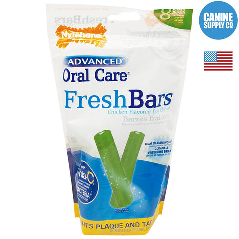Nylabone Advanced Oral Care Fresh Bar Dental Treats, 8ct | Canine Supply Co.