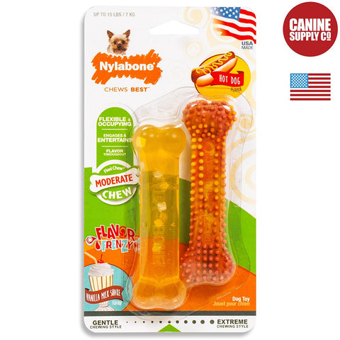 Nylabone Flavor Frenzy Moderate Chew Twin Pack, Hot Dog & Vanilla Milkshake, Petite