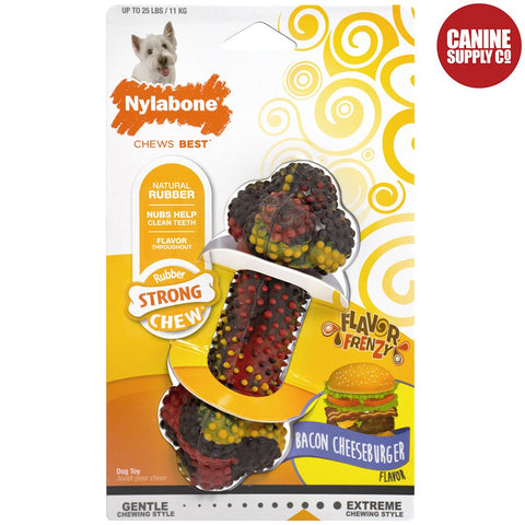 Nylabone Rubber Bacon Cheeseburger Small Rubber Dog Chew Toy | Canine Supply Co.