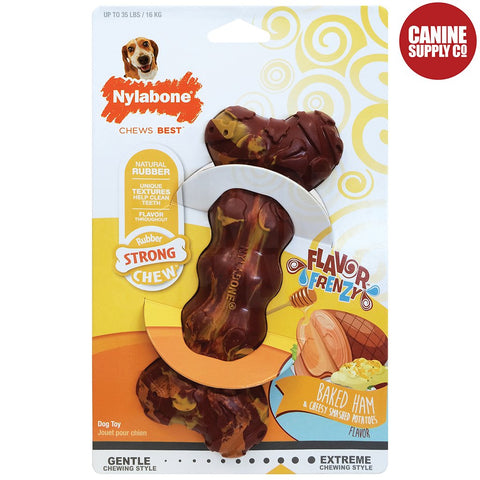 Nylabone Ham & Cheesy Small Rubber Dog Chew Toy | www.caninesupplyco.com