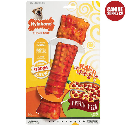 Nylabone Flavor Frenzy Rubber Chew - Pepperoni Pizza, Souper | Canine Supply Co.