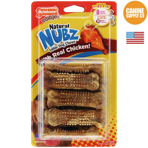 Nylabone Healthy Edibles Natural Nubz Chew Treats, Chicken Dog Treats, Small, 8ct