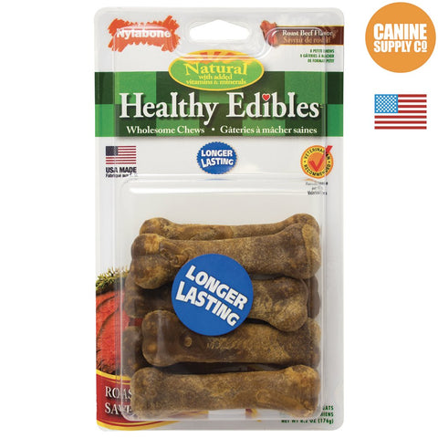 Nylabone Healthy Edibles Roast Beef Chew Treats for Dogs, Petite, 8ct