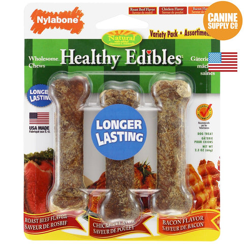 Nylabone Healthy Edibles Triple Pack - Roast Beef, Chicken, and Bacon, Petite, 3ct