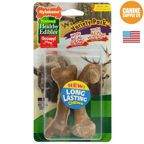 Nylabone Healthy Edibles Wild Variety Pack, Venison & Bison, Medium, 2ct