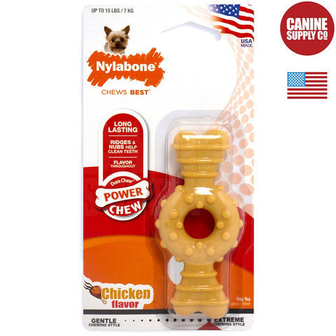 Nylabone Power Chew Textured Ring Bone - Chicken Flavored, Petite