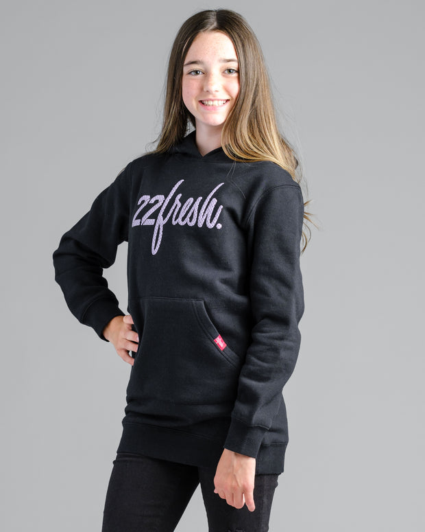 Girls Mesh Hoodie Dress - Black