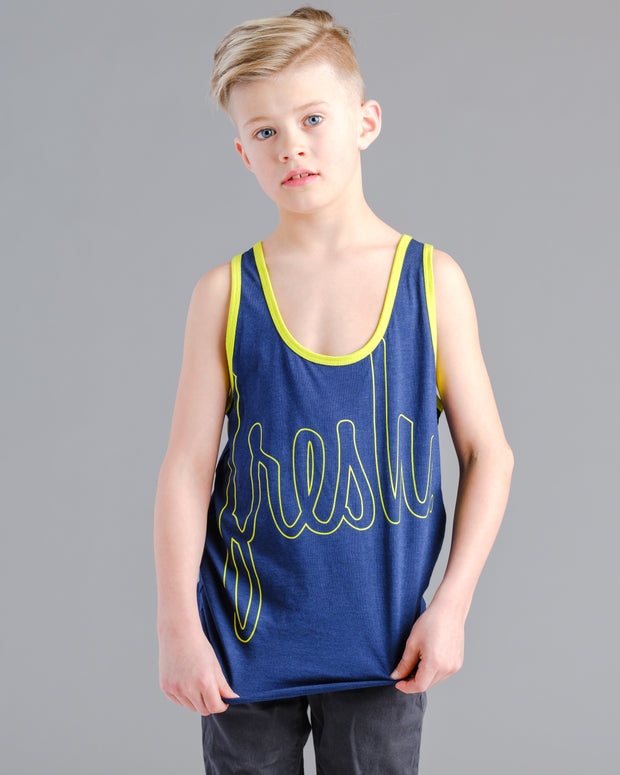 Lil' Bold Fresh Tank - Navy with Limeade
