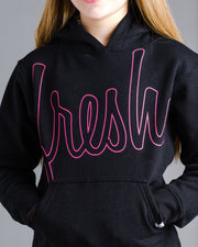 Lil' Bold Fresh Hoodie - Black with Electric Pink