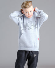 Lil' Bold Fresh Hoodie - Heather Grey with Black