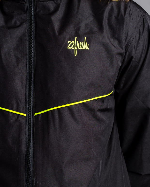 22Fresh Windbreaker - Black with Limeade