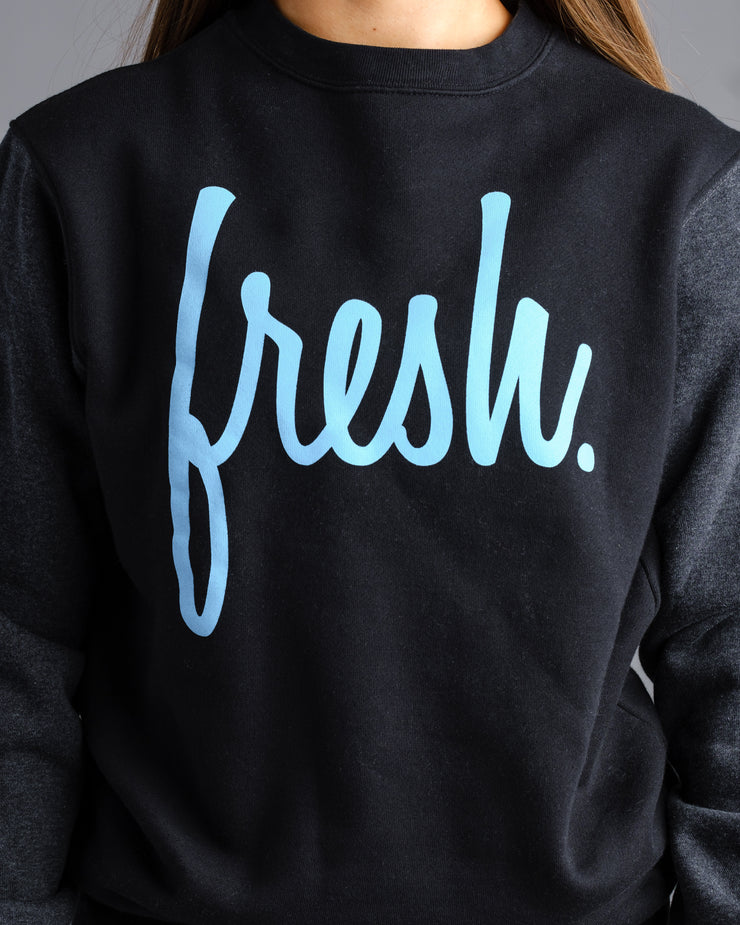 Fresh Crewneck - Black with Electric Blue