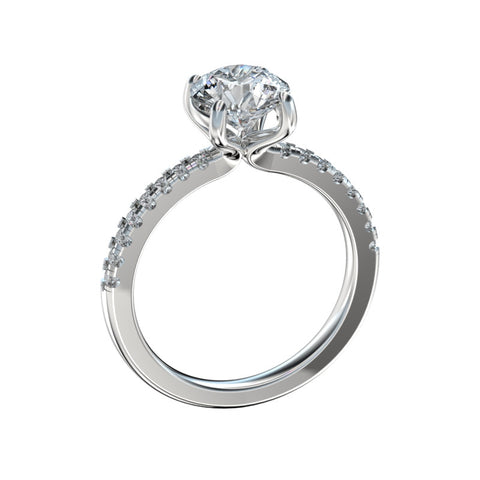 0.75 Ct. TW. D VVS2 Split Prong Scalloped Basket Engagement Ring in 14k White Gold