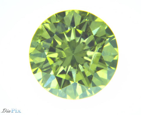 0.65 Ct. Round Brilliant SI2 Fancy Vivid Greenish Yellow