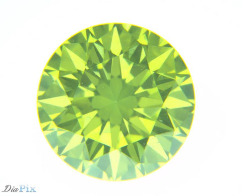 0.30 Ct. Round Brilliant VS1 Fancy Vivid Greenish Yellow