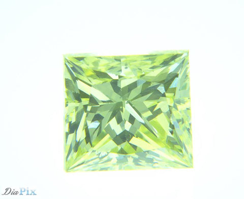 0.78 Ct. Princess VS2 Fancy Vivid Greenish Yellow