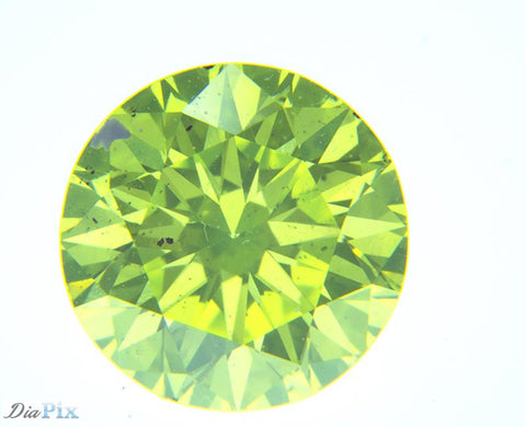 0.63 Ct. Round Brilliant SI1 Citrus Fancy Vivid Green-Yellow