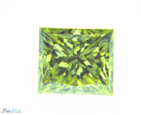 0.38 Ct. Princess VS1 Fancy Vivid Greenish Yellow