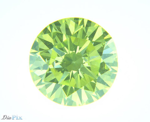 0.65 Ct. Round Brilliant SI2 Luminari Fancy Vivid Green-Yellow