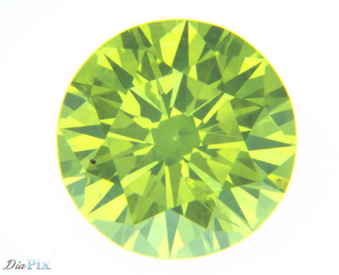 0.77 Ct. Round Brilliant SI2 Fancy Vivid Greenish Yellow