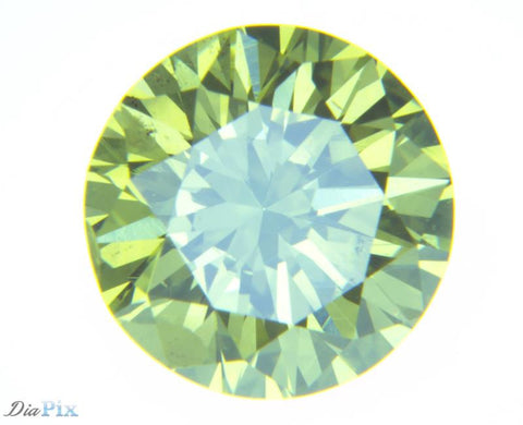 0.70 Ct. Round Brilliant SI2 Fancy Vivid Greenish Yellow