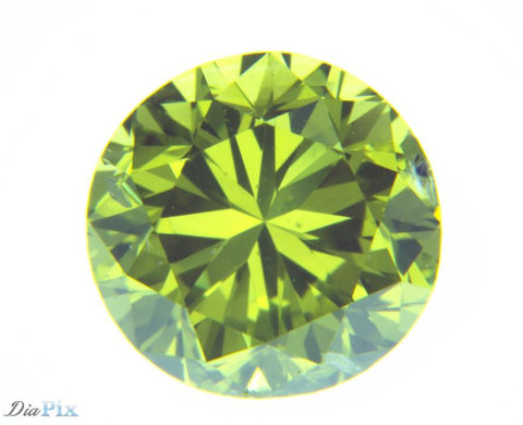 1.02 Ct. Round Brilliant SI2 Fancy Vivid Greenish Yellow