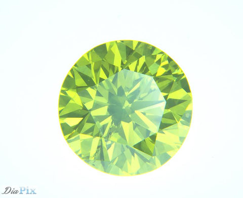 0.62 Ct. Round Brilliant SI2 Fancy Vivid Greenish Yellow