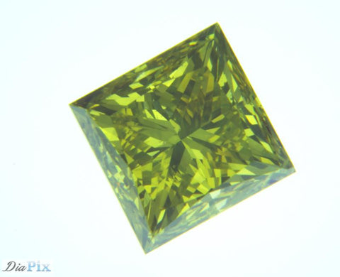 0.98 Ct. Princess SI1 Fancy Vivid Yellowish Green