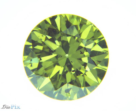 0.64 Ct. Round Brilliant SI2 Fancy Intense Yellow Green